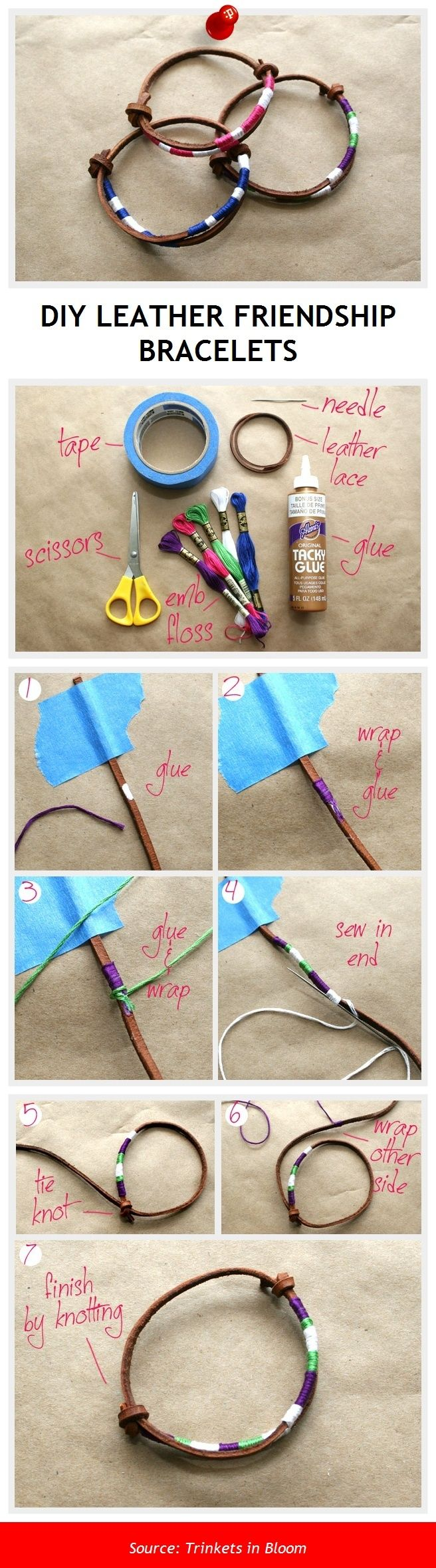 DIY LEATHER FRIENDSHIP BRACELETS