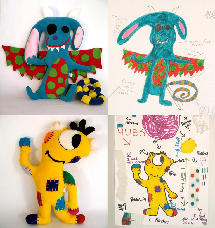 Stuffed Monsters from Kids Drawings