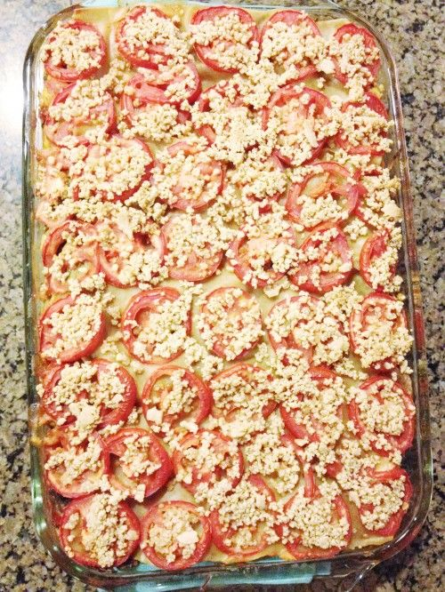 Plant-based lasagna - I made this 1/4/13 and it is amazing. It could stand up along side those cheesy meaty lasagna's and WIN.  I will make this for potlucks!