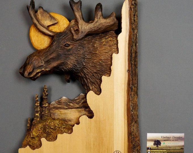 Cadeau unique en Bois Sculpture d'Orignal sur Bois Deco Chalet Art et Collection Cadeau de Chasse Art Murale pour Amateurs d'Orignal OOAK