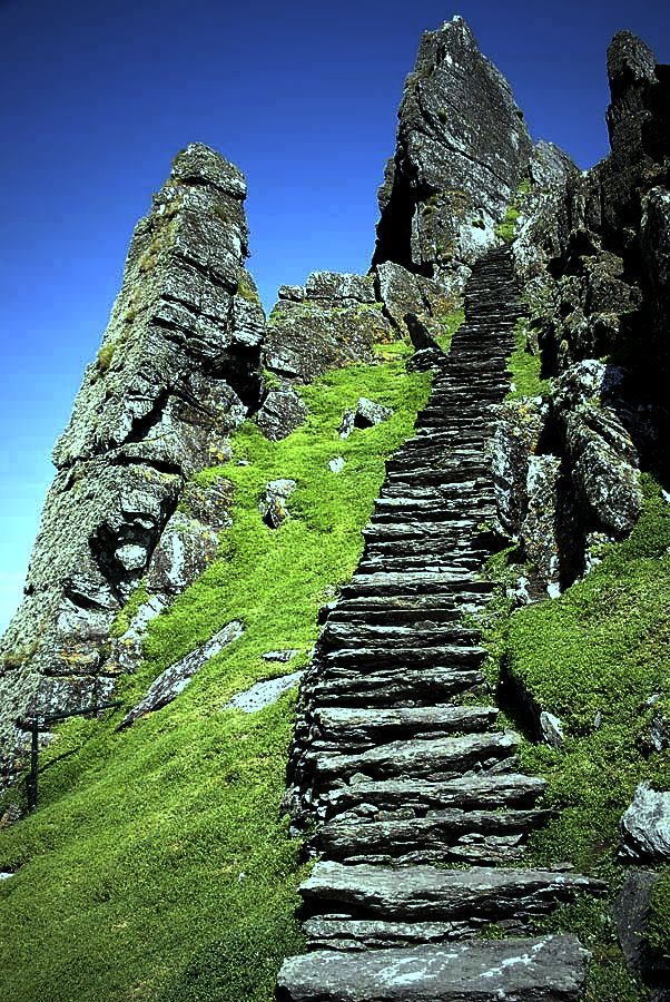 Great Skellig, Ireland. These steps were made by monks out of the mountain side with simple tools.