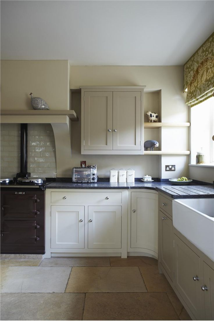Farrow & Ball Savage Ground (walls and some cabinets), London Stone & Wimborne White.