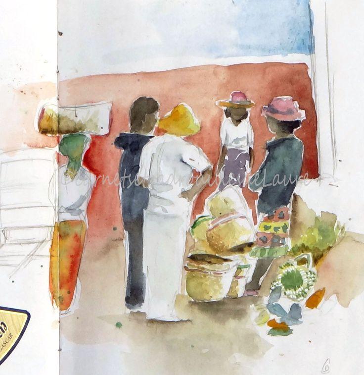 carnet de voyage Madagascar - croquis à l'aquarelle du marché d'Ambositra  #carnetdevoyage #Madagascar #voyage #aquarelle