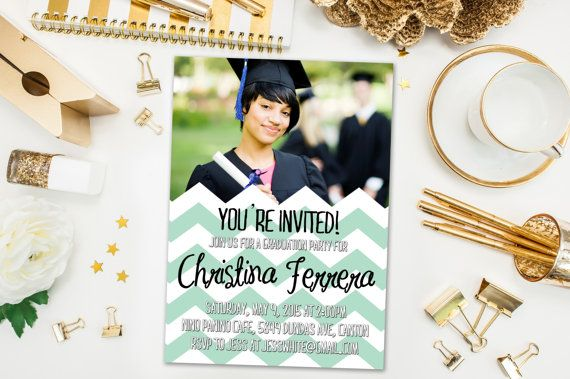 Graduation Party Invitations / Mint and White Chevron, Photo / Party Invite for Graduate / Class of 2015, 2016 / Digital or Printed Cards
