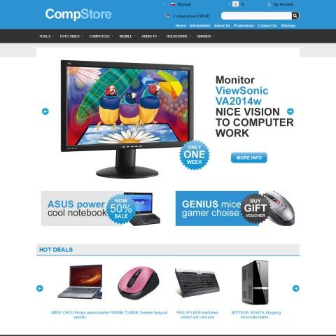Computers CS-Cart 3 Template is specially designed for electronics, computers, mobile stores. Garmonical colors combination of cyan with white background of central content and black footer. There are the best decorate for Laptops & Notebooks, Servers, Monitors, Projectors & Screens, Keyboards & Mice,