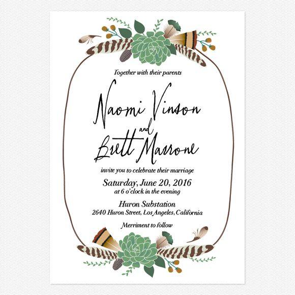 Bohemian Floral Wedding Invitations www.lovevsdesign.com