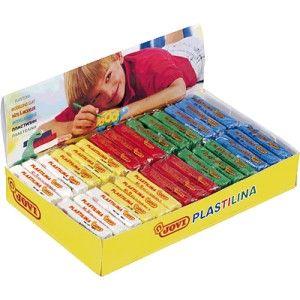 Caja de 30 pastillas de plastilina JOVI de 50 gramos en colores vivos surtidos, ideal para todo tipo de trabajos en el colegio y manualidades