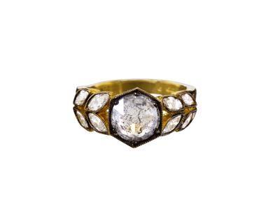 Black and White Rose Cut Diamond Garland Ring