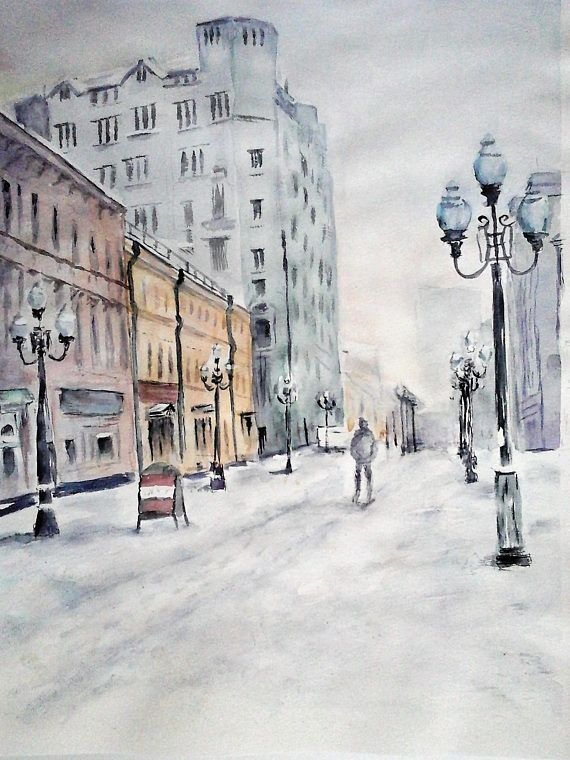 Original watercolor cityscape painting snow painting urban art