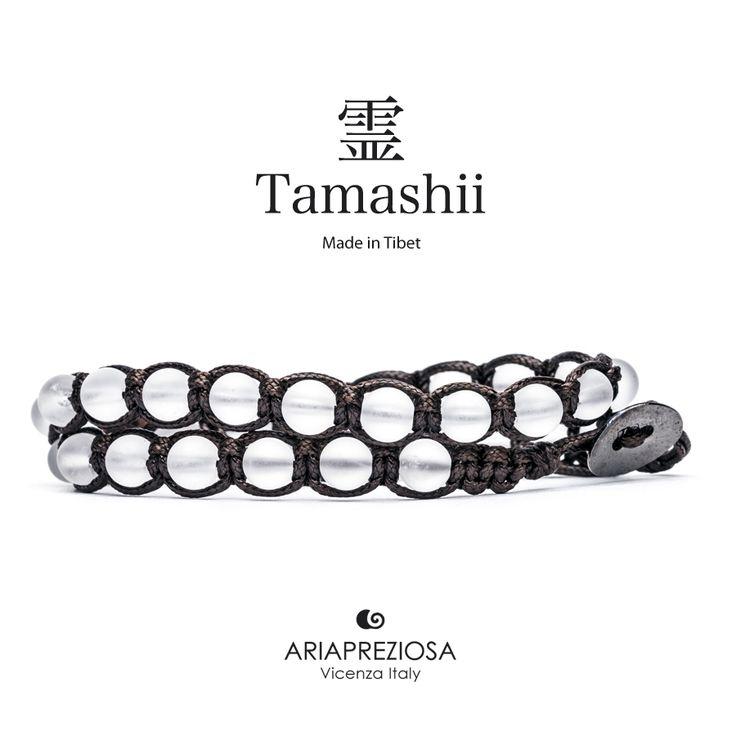 Tamashii - Bracciale Lungo Tradizionale Tibetano 2 giri Originale in Cristallo Di Rocca Satinato