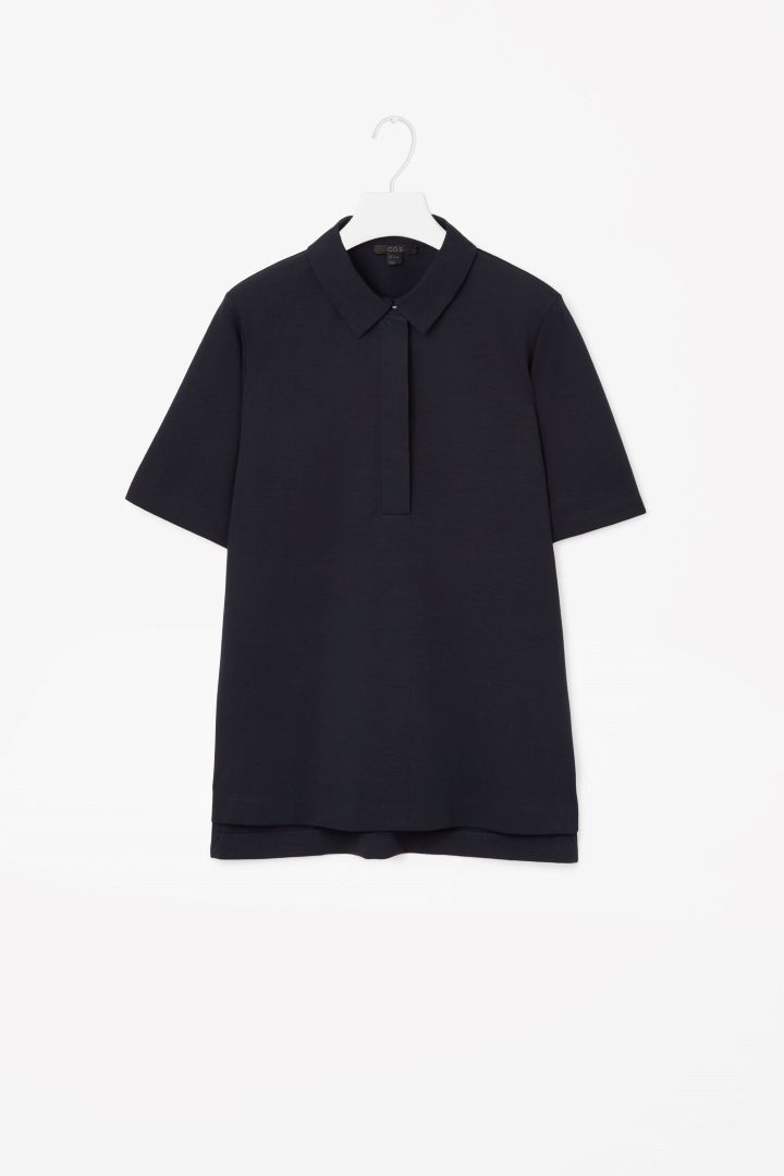 COS image 4 of Boxy polo shirt in Navy