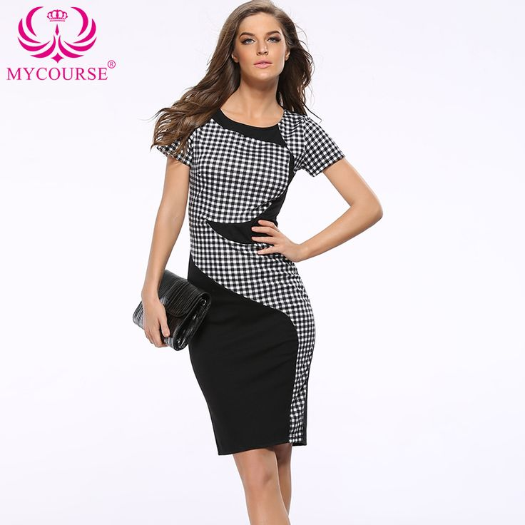 Find More Dresses Information about MYCOURSE OL Women Party Plaid Dresses Slim Work Business Stretch Pencil Package Hip Patchwork Short Sleeve Lady Sheath Dresses,High Quality dresses goth,China sleeve packaging Suppliers, Cheap dresses beach from MYCOURSE on Aliexpress.com