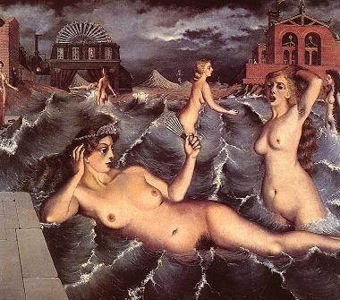 Paul Delvaux - Nymphes se baignant