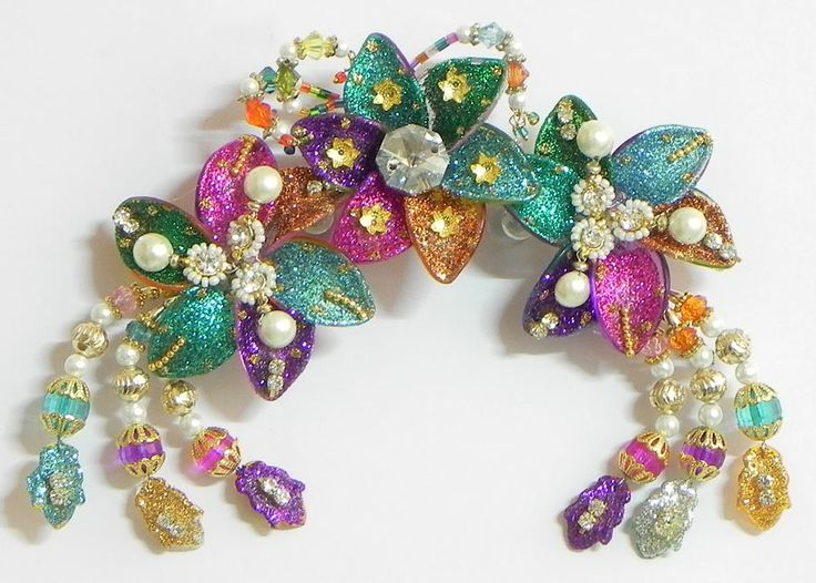 Colorful Flower Head Piece with Beads and Stone (Acrylic)