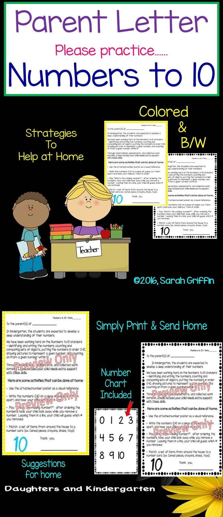 Parent Letter Numbers to 10. Informs parents their child is having difficulties with this math standard, and gives activities to do at home. Great intervention strategy!  Sarah Griffin, Daughters and Kindergarten   https://www.teacherspayteachers.com/Product/Parent-Letter-Practice-Numbers-to-10-940144