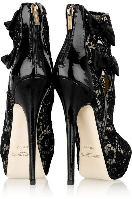 Jimmy Choo: Black Lace, In Style, Super High Heels, Ankle Boots, Jimmy Choo, Black Shoes, Jimmychoo, Lace Booty, Shoes Shoes