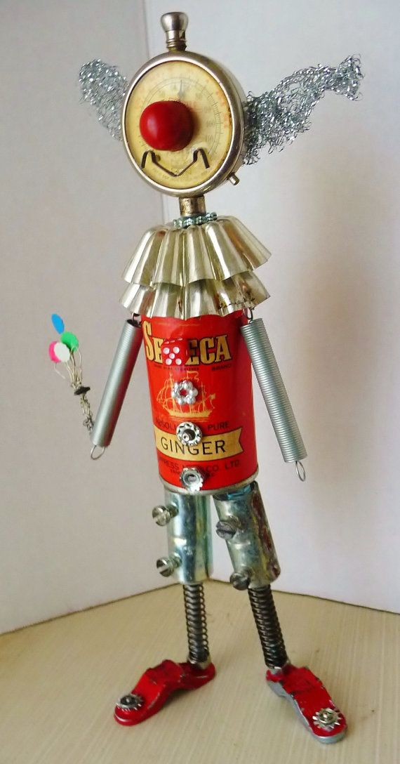 Carnival Clown Found Object Recycled Art by JoySunRobots on Etsy