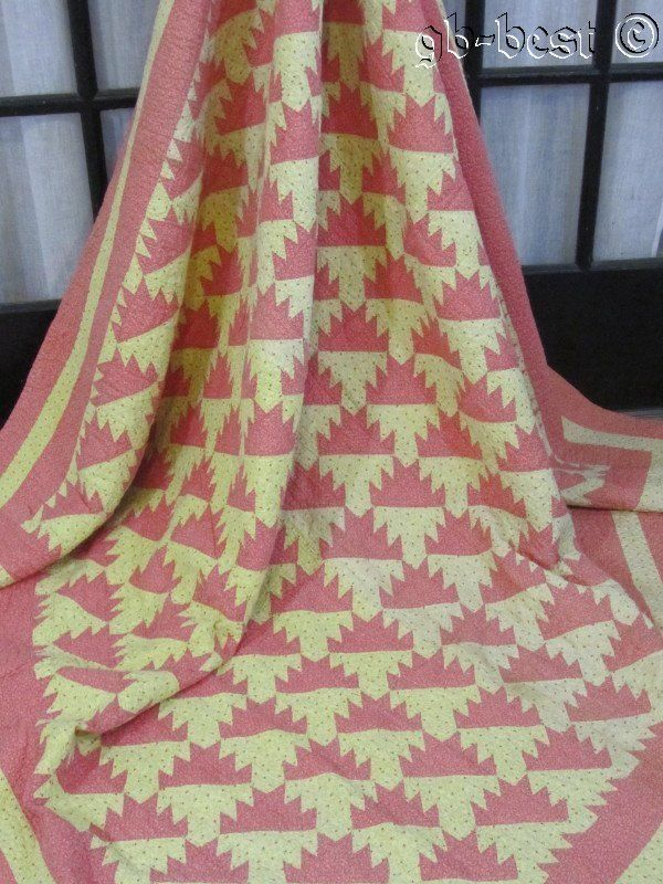"Primitive 1880/90s TINY Delectable Mountains Antique QUILT 80 x 78"" PINK Yellow"