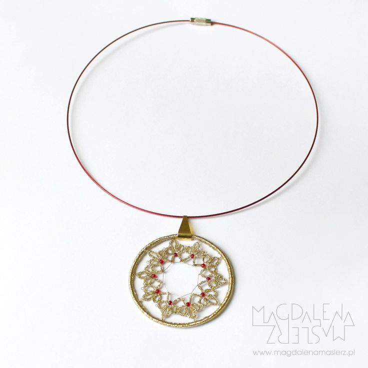 magdalena maślerz - a necklace from 2011 when i was fascinated by tatting. this lace is made from golden thread and red glass beads. all hung on red jeweler string.