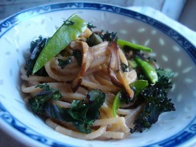Lemon-Sesame Noodles with Kale and Snow Peas