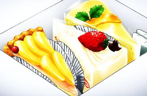 Scatola con tre fette diverse di torta: alle mele, cheesecake con fragola e cheesecake al limone (Infinite Stratos)