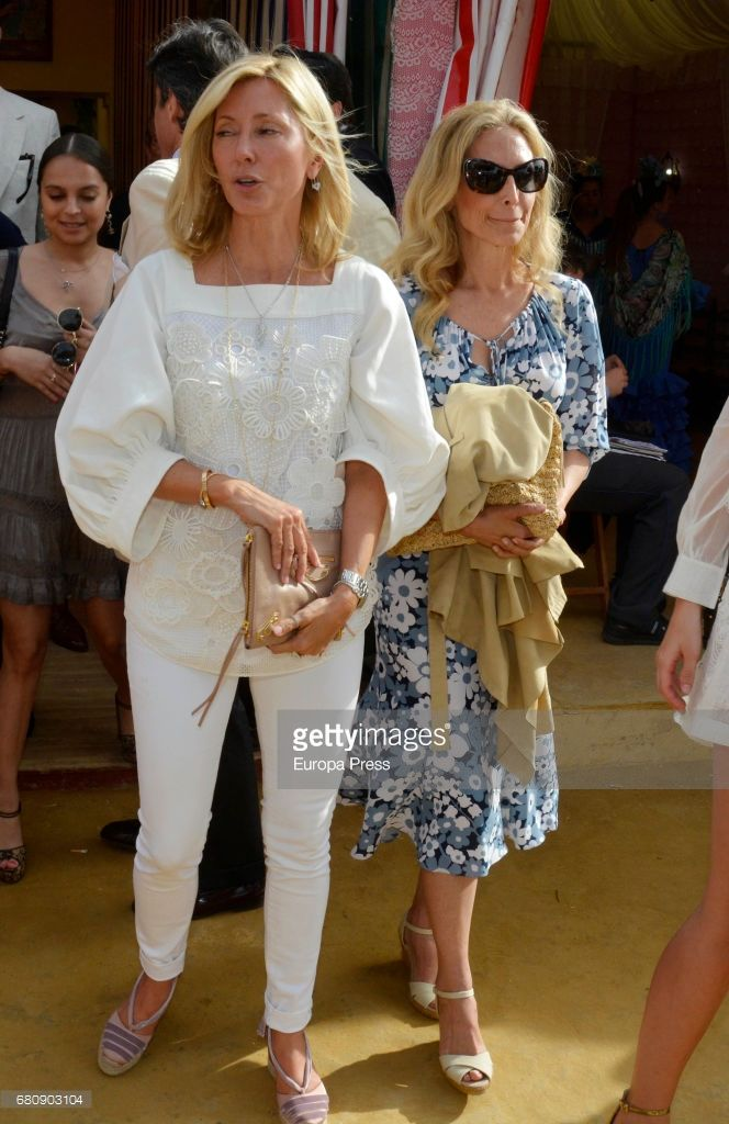 Marie-Chantal of Greece (L) and her sister Pia Getty (R) attend 2017 April's Fair on May 4, 2017 in Seville, Spain.