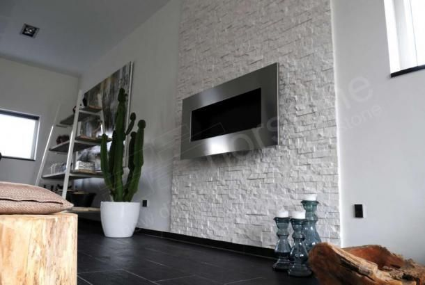 White Stone Fireplace Wall White Rock Panel Natural Stacked