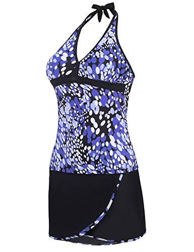 9ecc85ce7f900 LAZOSAL Womens Halter Printed Swimsuit Color Block Tankini Two Piece Bathing  Suit Swimwear with Skirt,#Printed, #Swimsuit, #Color, #LAZOSAL