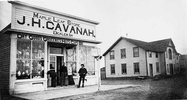 J. H. Cavanah's Maple Leaf Store and the Lethbridge Hotel located on 5th Street South between 2nd and 3rd Avenues, Lethbridge, AB, 1885