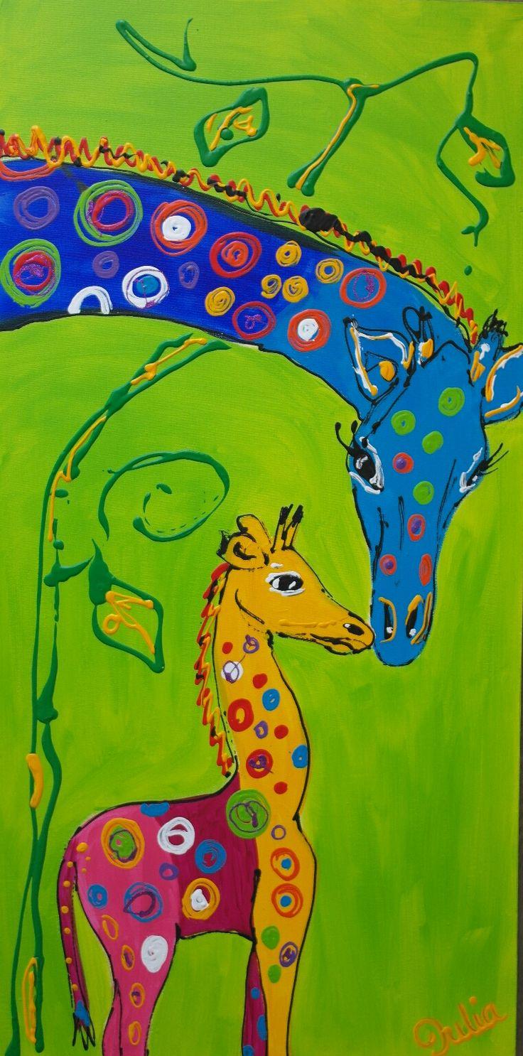 giraffe en kind