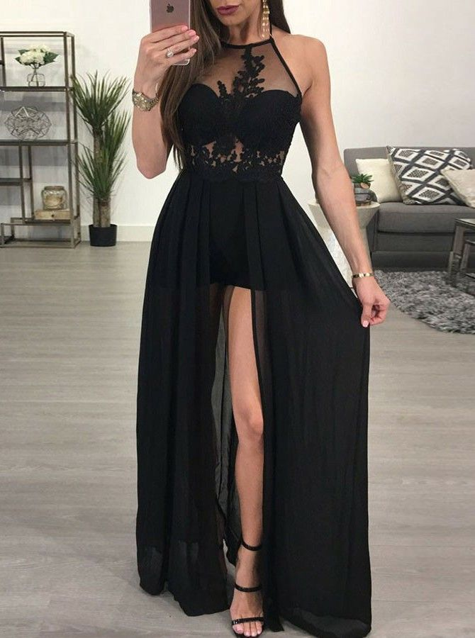 b35301dde65 A-Line Round Neck Floor-Length Slit Leg Black Prom Dress with Lace ...