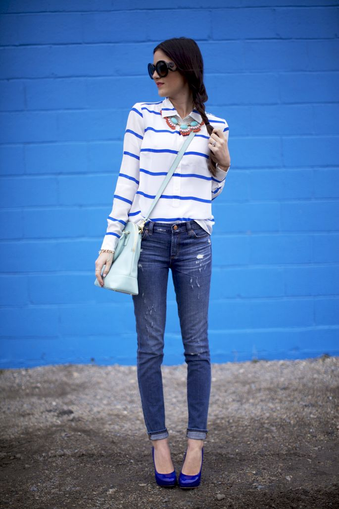 3.13 shades of blue (J Crew striped shirt + J Crew jeans + Tory Burch bag + J Crew necklace + Prada sunnies + J Crew, Stella & Dot bracelets + YSL 'rouge pur couture #13' lipstick + DownEast Basics ring)
