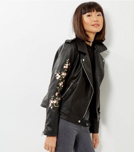 Black Floral Embroidered Leather-Look Biker Jacket   New Look