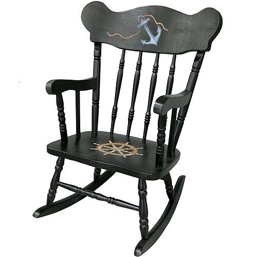 Nautical Childs Rocking Chair from PoshTots (ha! $451.00) I'm going flea marketing and painting this bad boy!