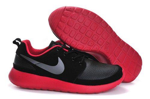 2015 fashion cheap nike roshe run black red men running shoes 40-44