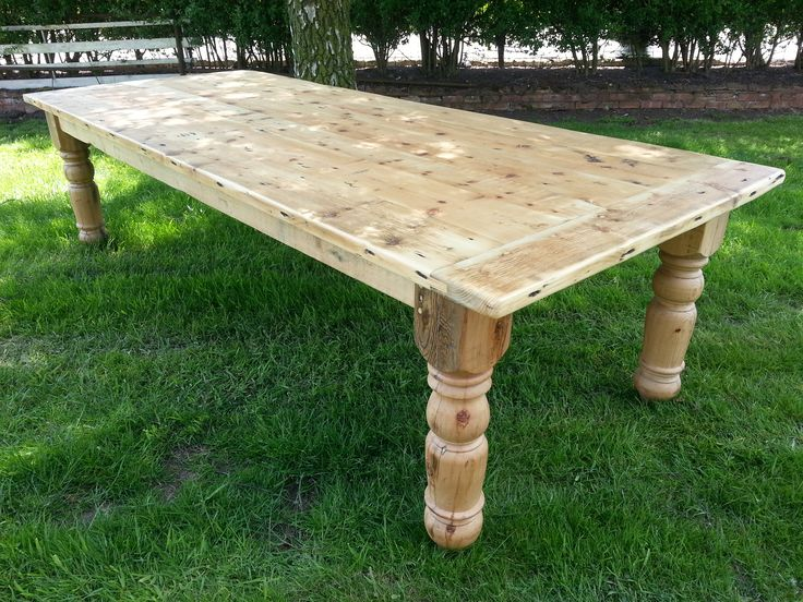 Made to measure Victorian Style 10ft table with breadboard ends. Made using reclaimed pine and with hand turned Victorian style legs.