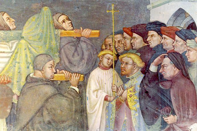 St. Augustinus van Hippo. - 1420/30(?) Plafondschildering door Ottaviano Nelli. Italië, Gubbio, Sant 'Agostino Overbrenging Augustinus'relieken naar Pavia.