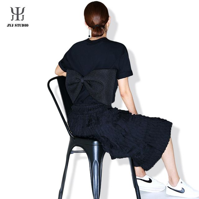 Big Bow Blouse For Women Cotton Black O Neck Cool Blouse Mesh Blouse Shirt Bow Plus Size Loose Blouse Femme