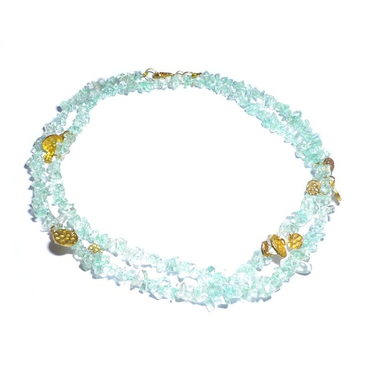 Ashiana Aqua Chip Gold Disc Necklace  Special Price: £ 23.20