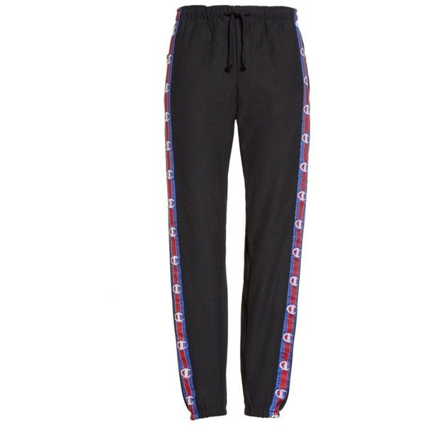 VETEMENTS x Champion Taped Sweatpants ❤ liked on Polyvore featuring activewear, activewear pants, sweat pants, champion sportswear, champion activewear, champion sweatpants and colorful sweatpants