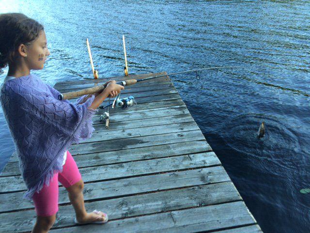 Vienna catches her first fish... in #OtterLake #ParrySound #SunnyPointResort