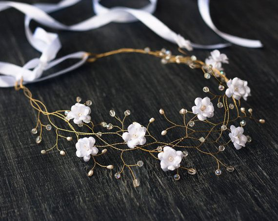White wedding hair accessories, Flower crown, Flower hair piece, Flower tiara, Crowns, Wedding crown, Flower hair accessories, Flowers.  Color on the first photo is S101.  Large palette photo: http://media-cache-ak0.pinimg.com/originals/db/78/5b/db785b37f6bad2f078690af2c94d5369.jpg  I made this tender and romantic flower crown from 100% natural silk, Swarovski crystals and natural pearls. All the steps are handmade by me. Each petal is cut and processed with organic materials. The form is…