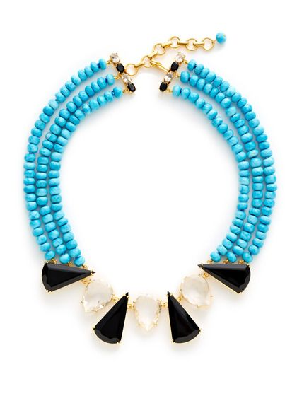Turquoise Bead Collar Necklace by Bounkit at Gilt