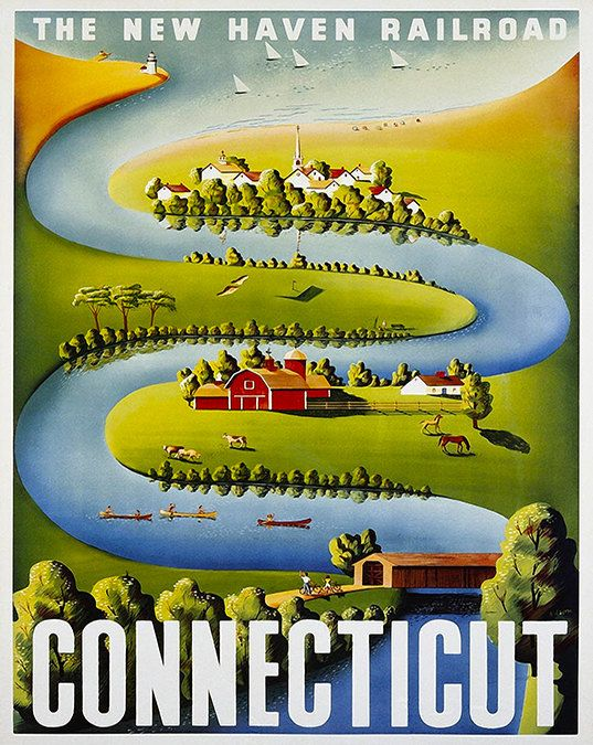 Connecticut Art Vintage Travel Poster Print Home by Blivingstons