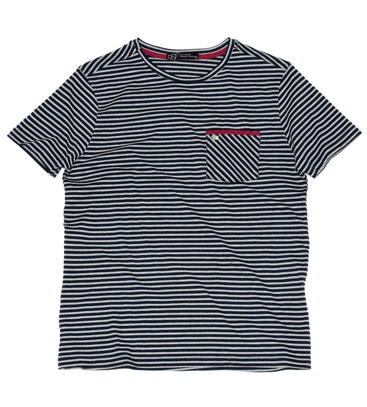 Camiseta ASF Ravena - 100% algodão listrada marinho e cinza com detalhes contrastantes em vermelho no bolso e cobre-gola. www,universoasf.com.br