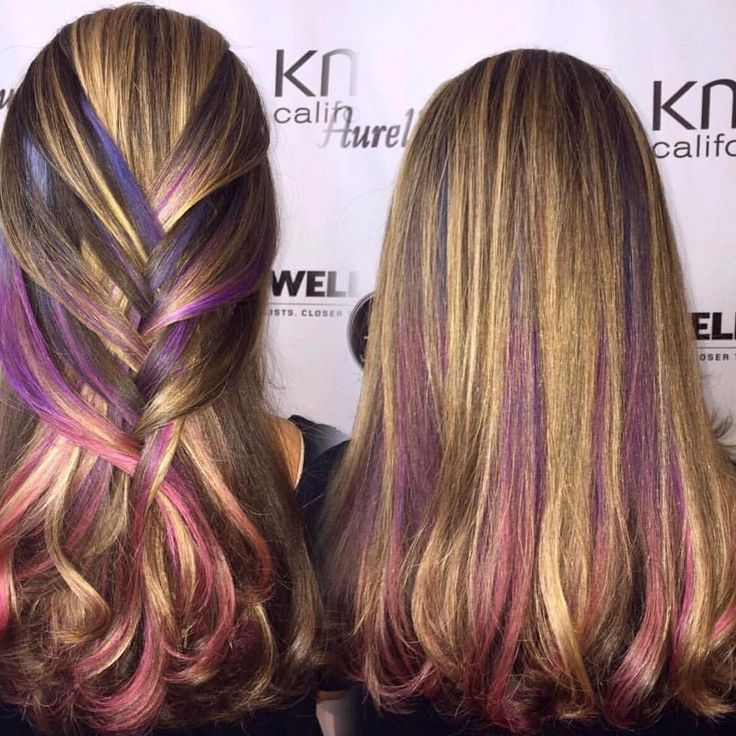 Mermaid inspired hair featuring pink and purple colors done at Aurelio Salon of Howell & Toms River, NJ! With Elumen Color!