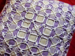 My first broderie suisse (chicken scratch, ricamo svizzero). There are different names as it is popular in France, Italy, Germany, and Australia.
