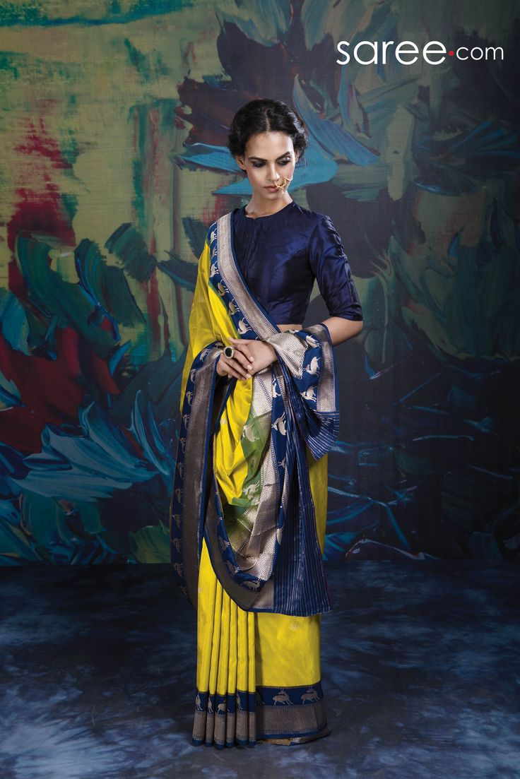 YELLOW AND BLUE BANARASI SILK SAREE WITH WEAVING WORK