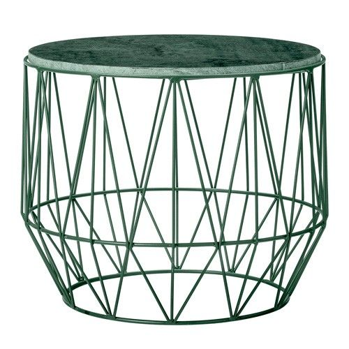 Bloomingville Coffee Table With Iron Frame And Dark Green Marble Top