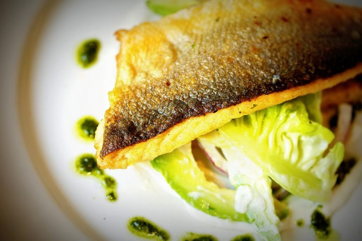 Grilled seabass with caesars salad and rosti portato cake from Red Onion, Glasgow - Restaurants - 5pm.co.uk